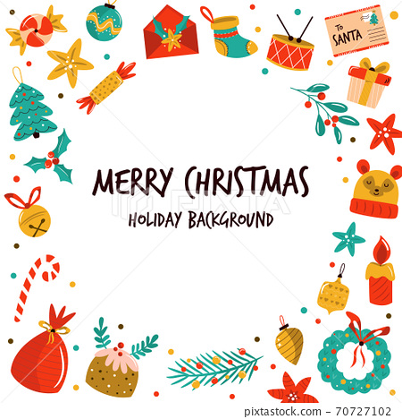 Christmas background with holiday elements, icons. Abstract design for festive season. 70727102