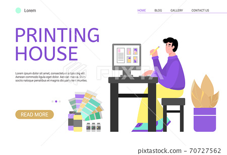 Landing page template for app of printing house, publishing or advertising agency 70727562