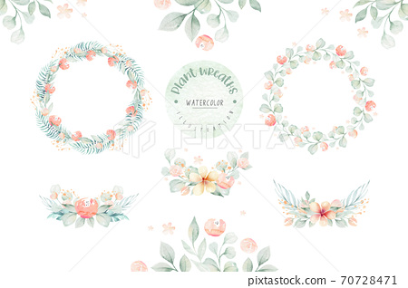 Flower watercolor tropical wreath set with jungle flowers AMARYLLIS and leaves. Wedding ANTHURIUM romantic tropic frame. Invitation design 70728471