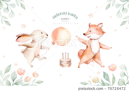 Cute baby birthday party nursery watercolor dancing fox and bunny rabbit animal isolated illustration for children baby shower. Tropical forest and jungle nursery posters, patterns. Birthday invite. 70728472
