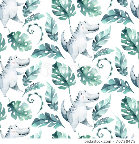 Seamless cartoon crocodiles pattern. Watercolor tropic african illustration with watercolor alligators and Africa palms. Tropical leaves Fabric background 70728475