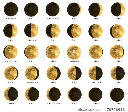 插圖集的金色月亮 70728918