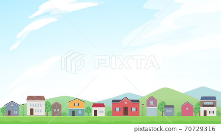 一個空的框架的例證與在landscape_16排列的房子:9 70729316