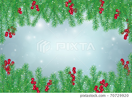 Pine leaves with holly berries frame on blue background, Christmas backdrop 70729920