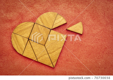 wooden heart tangram puzzle 70730038