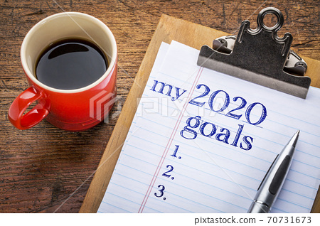2020 goals on blackboard on clipboard 70731673