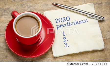 2020 predictions text on a napkin 70731743