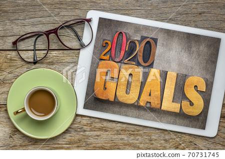 2020 goals banner in wood type 70731745
