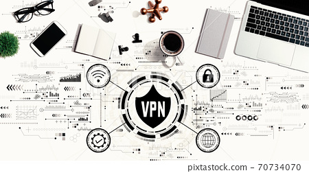 VPN concept with a laptop computer 70734070