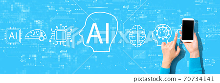 AI concept with person using a smartphone 70734141