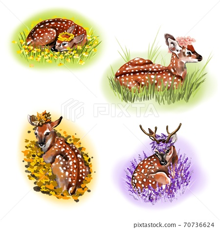 Isolated deer drawings in four seasons. On a white background: four animals in autumn, winter, summer and spring environment. Decorated w/ flowers and colors: green, yellow, violet and bright orange. 70736624