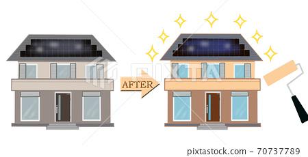 重新粉刷房屋外牆的圖像重新粉刷房屋前後的區別插圖 70737789