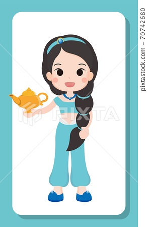 Arab and Indian brunette cartoon princess cartoon illustration 70742680