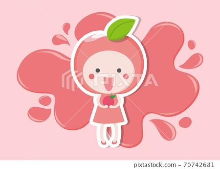 粉紅色蘋果女孩吉祥物卡通插畫跟粉色的噴濺水 70742681