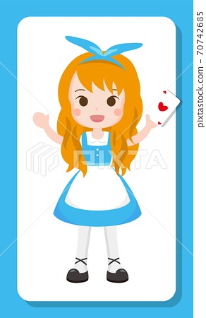 Cartoon illustration of a blond cartoon girl in a dress and ribbon 70742685