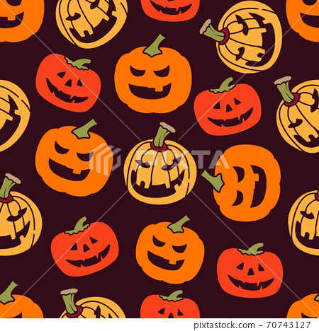 Halloween pumpkin seamless pattern. Vector illustration background. For print, textile, web, home decor, fashion, surface, graphic design 70743127