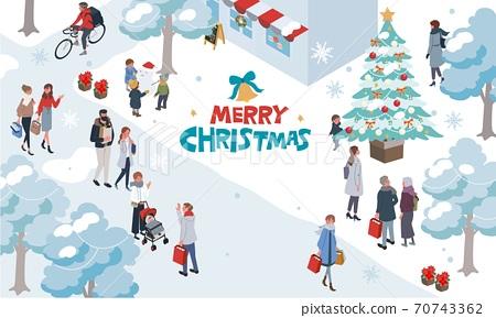 等距聖誕節人圖城市景觀橫幅 70743362