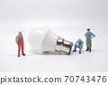 Business creative idea, power or energy generator concept, miniature people 70743476