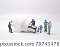 Business creative idea, power or energy generator concept, miniature people 70743479