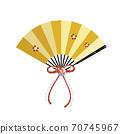 梅花图案的金色风扇红色和白色丝带和花朵装饰 70745967