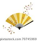 梅花图案与暴风雪的金扇 70745969