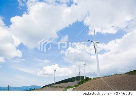 Beautiful mountain landscape, blue sky over hillside meadow 011 70746339