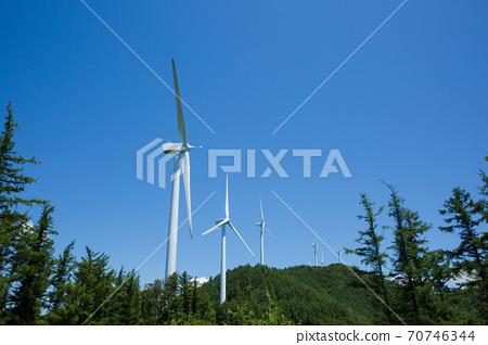 Beautiful mountain landscape, blue sky over hillside meadow 015 70746344