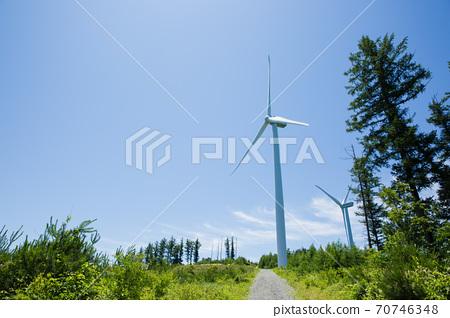 Beautiful mountain landscape, blue sky over hillside meadow 019 70746348