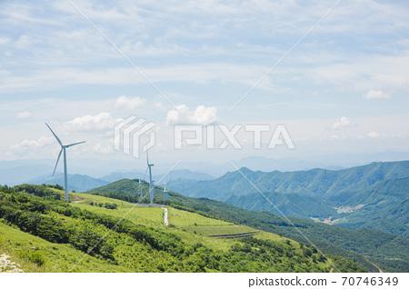 Beautiful mountain landscape, blue sky over hillside meadow 020 70746349