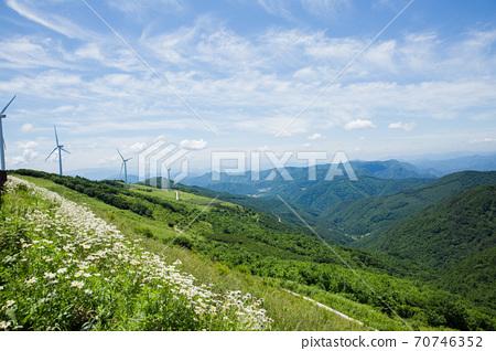 Beautiful mountain landscape, blue sky over hillside meadow 023 70746352