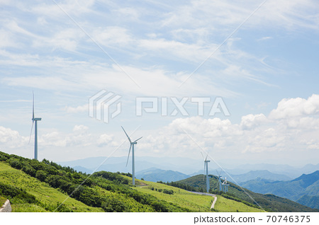 Beautiful mountain landscape, blue sky over hillside meadow 040 70746375