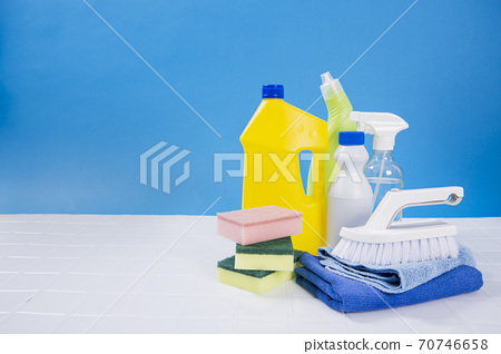 hygiene and cleanliness concept. cleaning home and various cleaning products 178 70746658