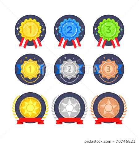 Different trophy and medal set illustration 005 70746923