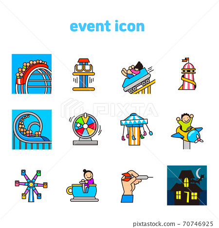 Set of carnival, party, birthday icons flat style illustration 001 70746925