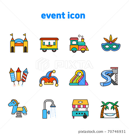 Set of carnival, party, birthday icons flat style illustration 010 70746931