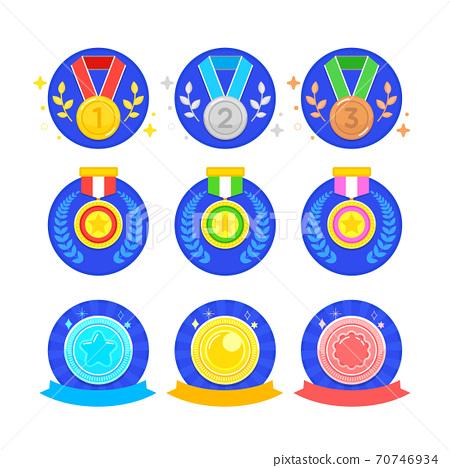 Different trophy and medal set illustration 002 70746934