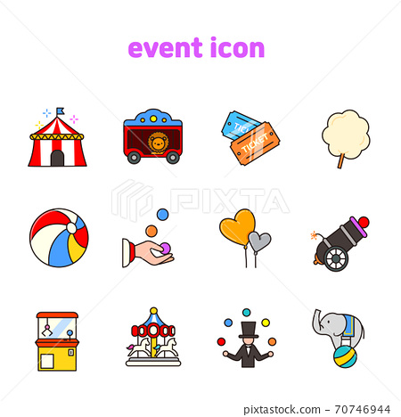 Set of carnival, party, birthday icons flat style illustration 008 70746944