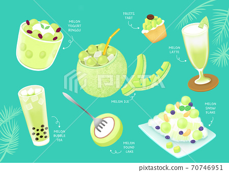 Summer food and drink for the menu hand drawn illustration 001 70746951