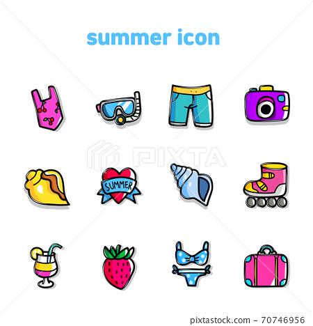 Summer elements icon set on white background illustration 003 70746956