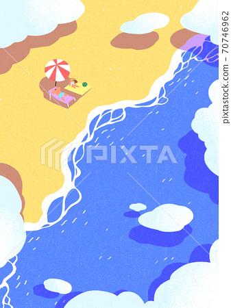 Beautiful summer landscape background illustration 001 70746962