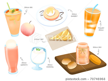 Summer food and drink for the menu hand drawn illustration 002 70746968
