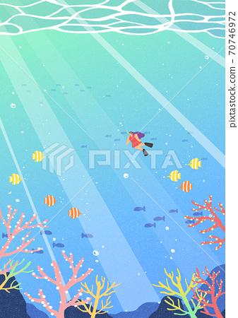 Beautiful summer landscape background illustration 003 70746972