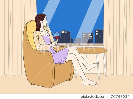 Enjoy summer, summer vacation cartoon illustration 004 70747034