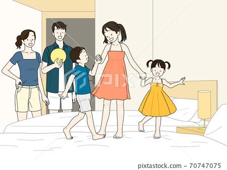 Enjoy summer, summer vacation cartoon illustration 010 70747075