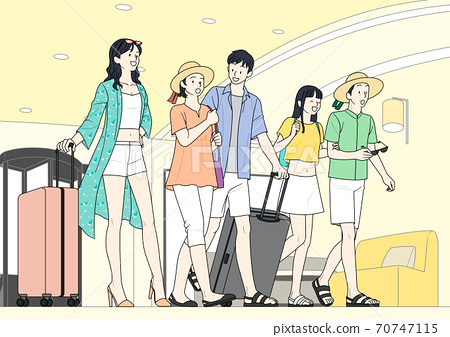 Enjoy summer, summer vacation cartoon illustration 009 70747115