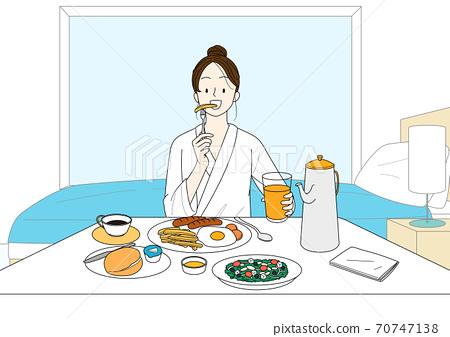 Enjoy summer, summer vacation cartoon illustration 005 70747138