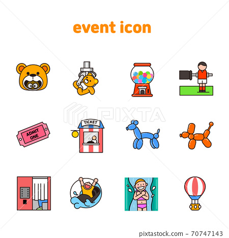 Set of carnival, party, birthday icons flat style illustration 006 70747143