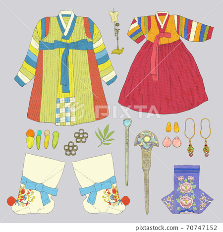 Fashion collection of clothes hand-drown illustration 006 70747152
