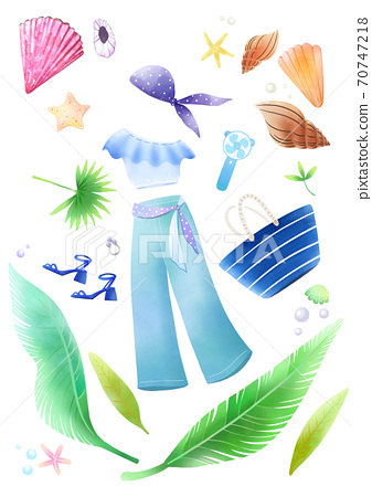 Colorful summer object hand-drawn illustration 002 70747218