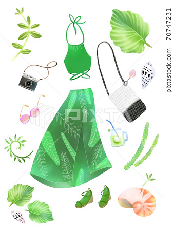 Colorful summer object hand-drawn illustration 008 70747231